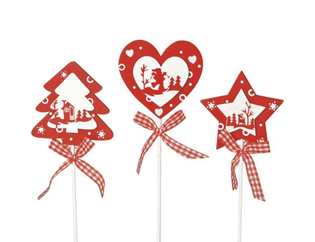 Picks navideños blanco-rojo