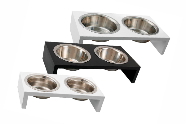 Bowl Luxury Twin Soporte Madera Color Blanco 2x380