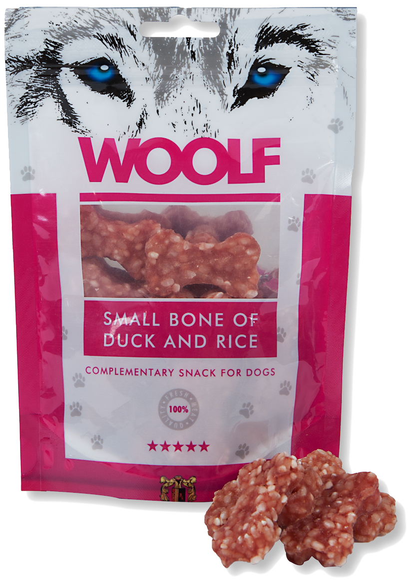 WOOLF Huesitos de Pato y Arroz 100g