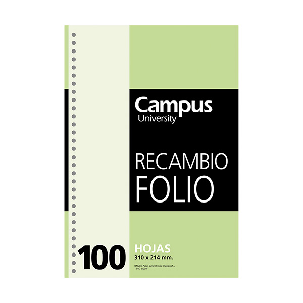 Recambio 4 taladros Folio 214x310 Doble raya 2,5mm