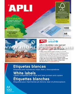 Etiquetas adhesivas blancas Apli 210x297(c/100h)