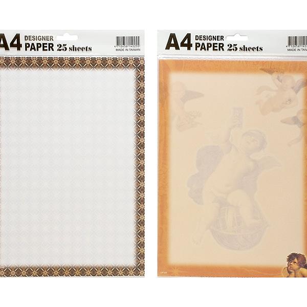Papel decorado A4. Disponible en 4 diseños Sobres de 25 hojas