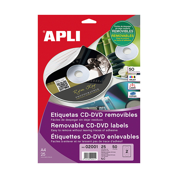 Etiquetas removibles CD-DVD Apli Diámetro 114mm,