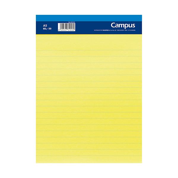 Bloc notas microperforado A5 50h 60gr papel amarillo