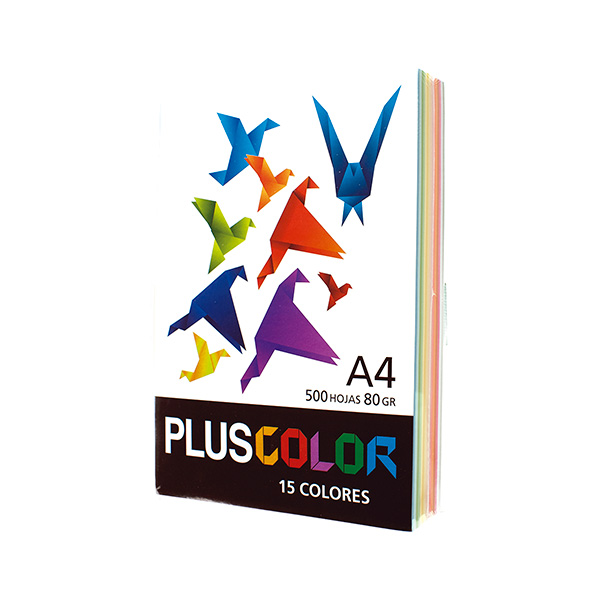Papel PLUS COLOR A4 500h 80gr 15 colores