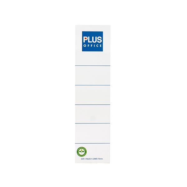 Etiquetas Plus lomeras blancas folio 187x48mm 10u