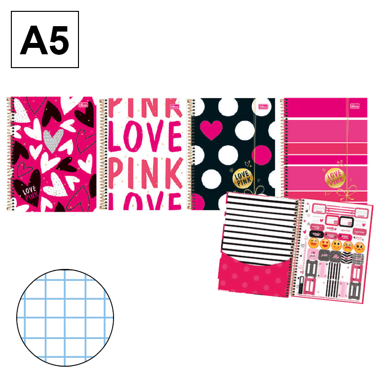 Bloc espiral microperforado Love pink 140x200