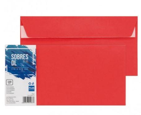 Paquete 20 sobres 110x220 rojo