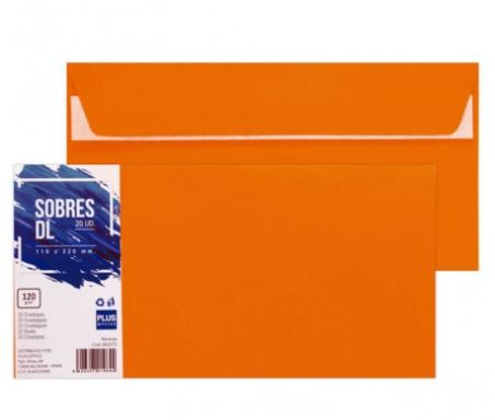 Paquete 20 sobres 110x220 naranja