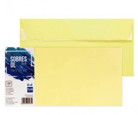 Paquete 20 sobres 110x220 amarillo pastel