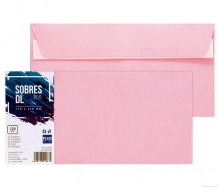 Paquete 20 sobres 110x220 rosa pastel