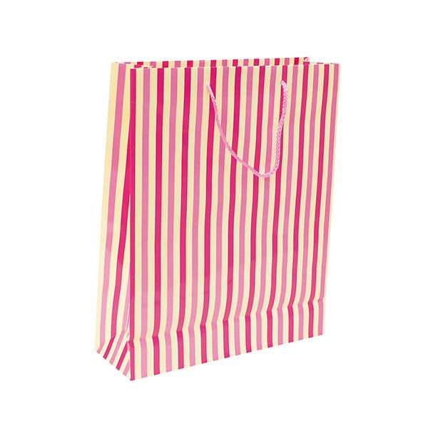 Bolsa de papel rayas mediana
