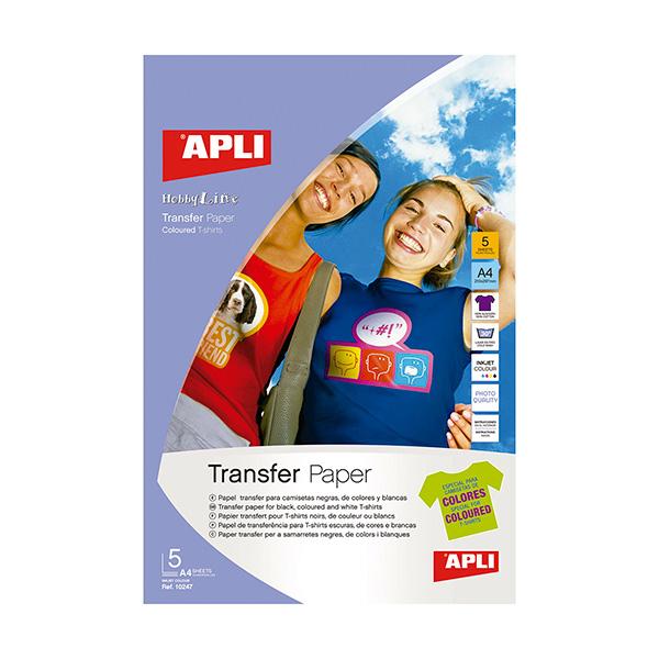 Papel Transfer Apli A4 para tejidos oscuros 5h