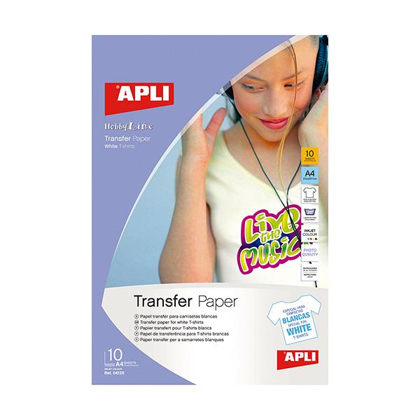 Papel Transfer Apli A4 para tejidos blancos 10h