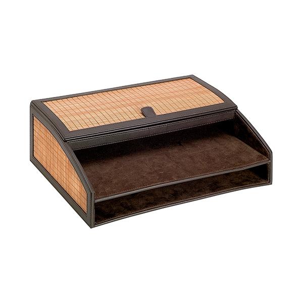 Organizador símil-piel marrón 365x270x110