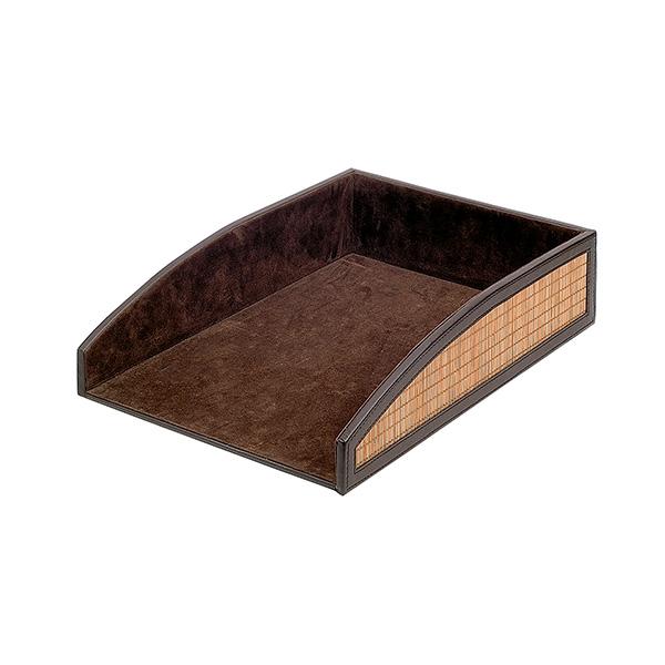 Bandeja símil-piel marrón 340x240x80