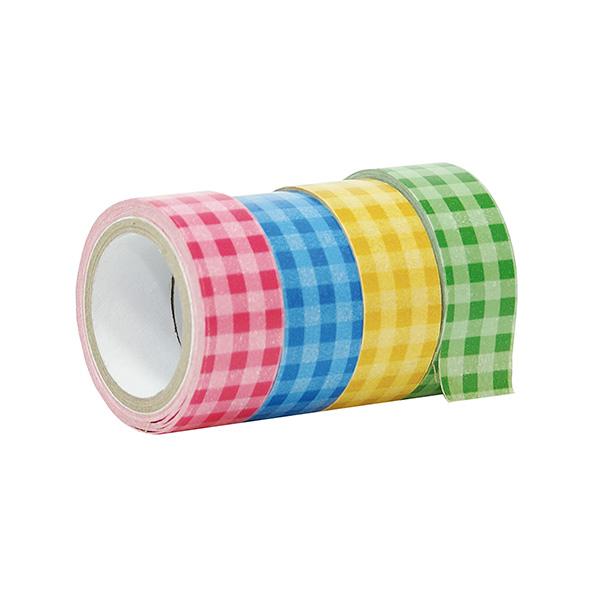 Cinta adhesiva Washi Tape Vichy (rosa/amarillo/verde/azul)