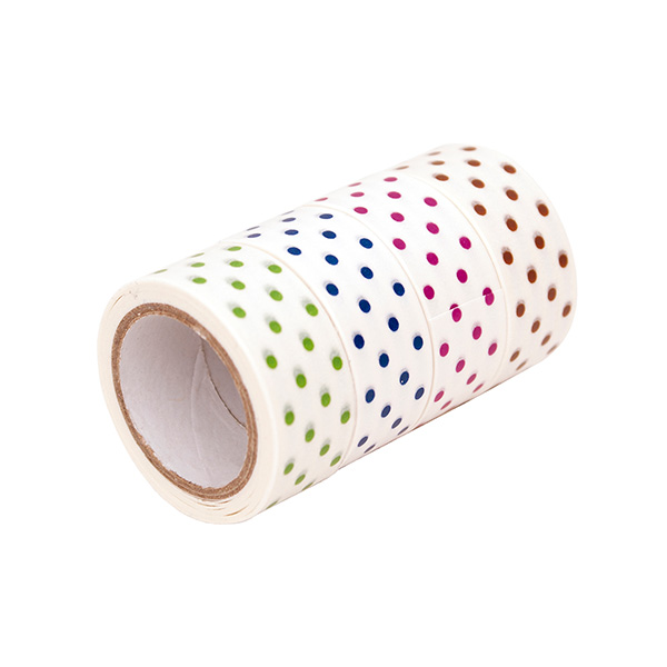 Cinta adhesiva Washi Tape Topos (rojo/marrón/verde/azul)