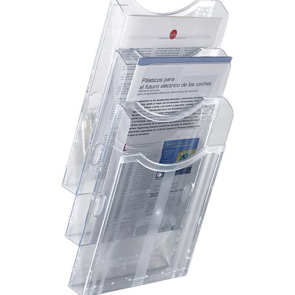 Expositor de pared A4 vertical 3 compartimentos