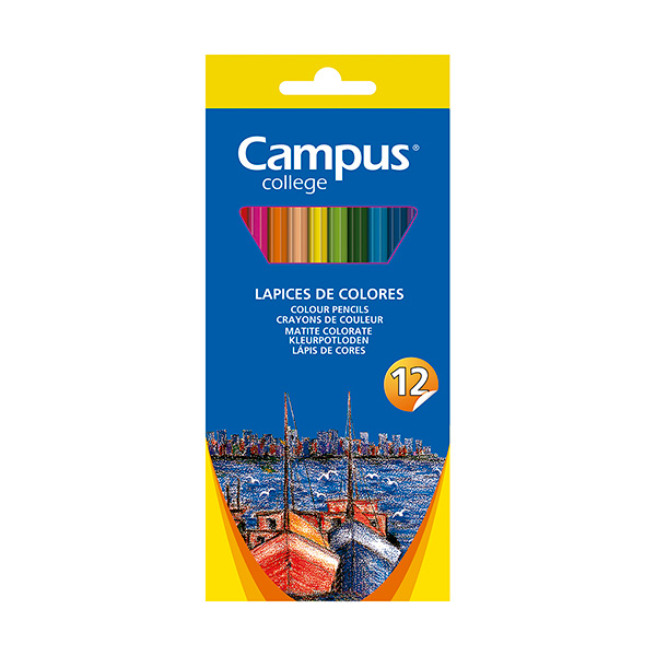 Caja 12 lápices madera Campus College