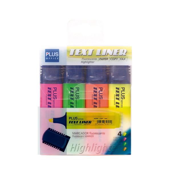 Rotulador Fluorescente Plus Offece Text Liner Bolsa 4 colores