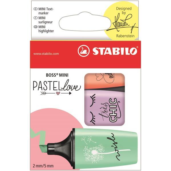Blister 3 marcadores Stabilo boss mini pastel