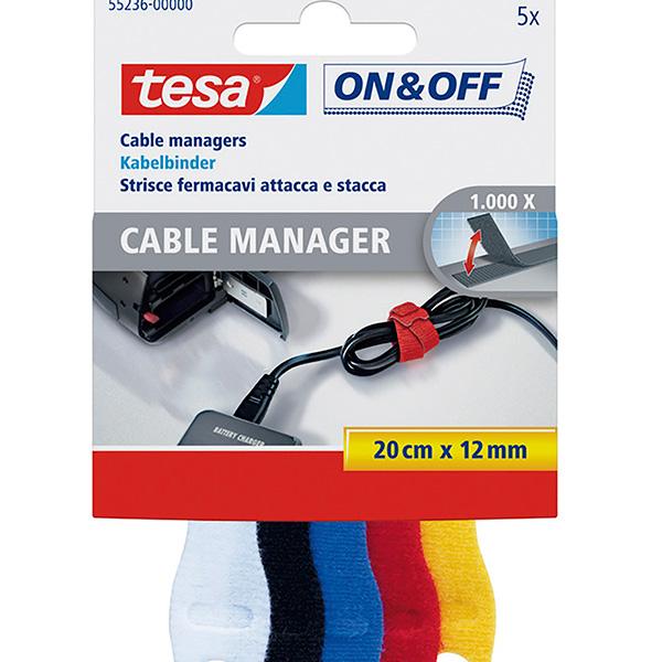 Organizador de cables Tesa tiras autosujeción