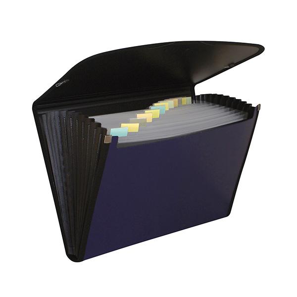 Carpeta clasificadora A4 Premium negro y azul.