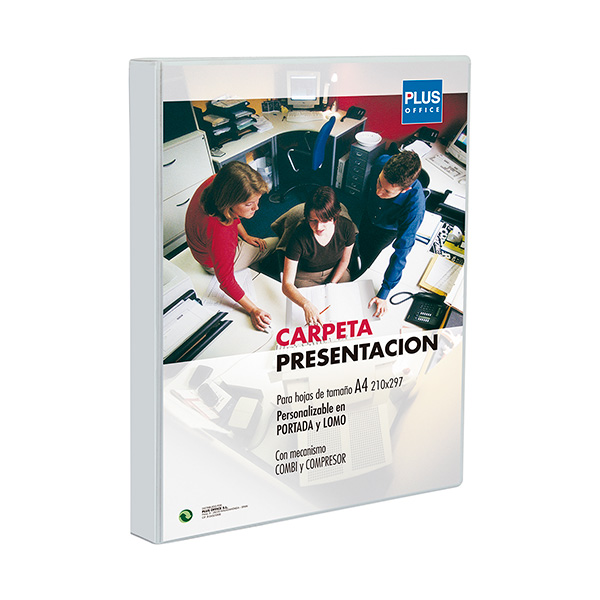 Carpeta canguro Plus Office PP 2A/40mm blanca