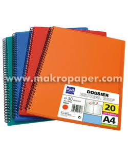 Carpeta dossier Plus Office 20 fundas espiral Rojo