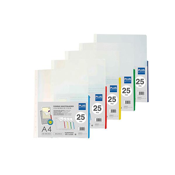 Paquete 25 fundas multitaladro borde azul A-4