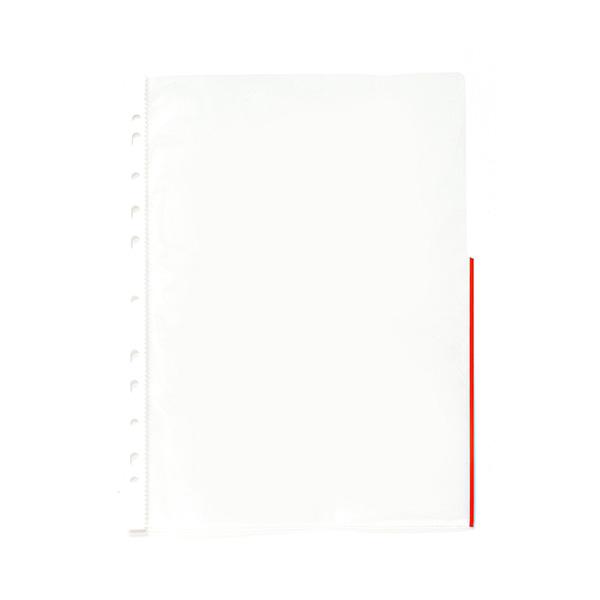 Paquete 250 fundas multitaladro borde rojo din-a4