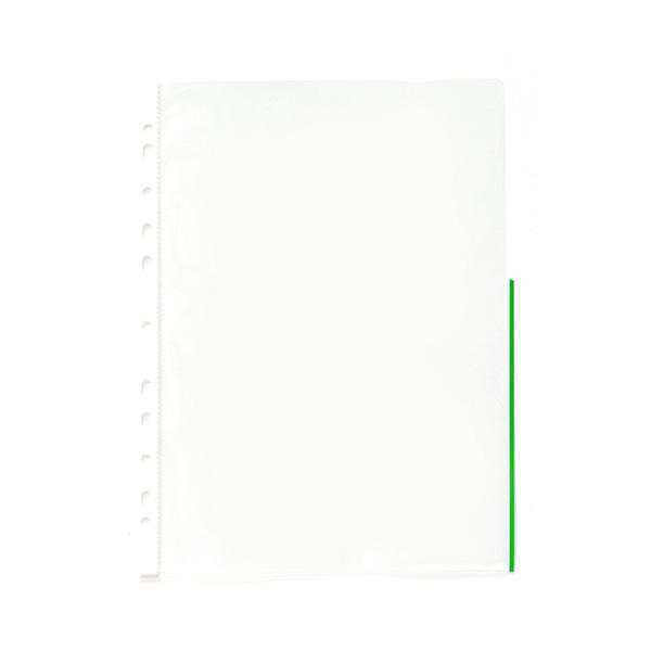 Paquete 25 fundas multitaladro borde verde din a-4