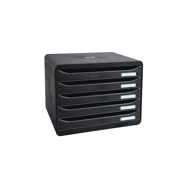 Modulo 5 cajones Big Box Plus apaisado negro