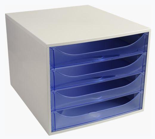 Modulo 4 cajones EcoBox gris/azul translúcido