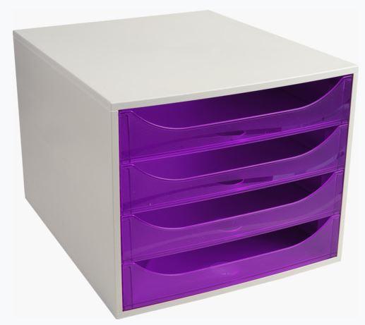 Modulo 4 cajones Ecobox gris/violeta translúcido