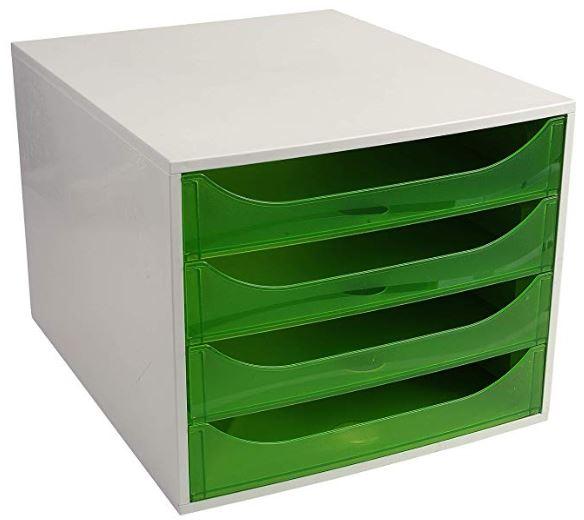 Modulo 4 cajones EcoBox gris/verde manzana