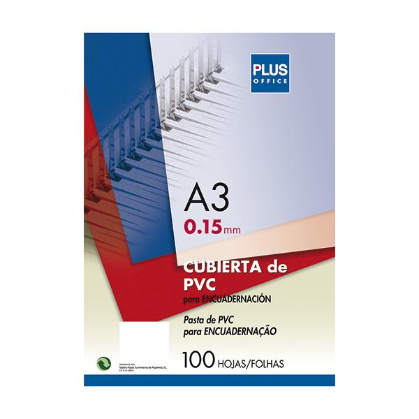Tapas encuadernar Plus Office PVC A3 Cristal (100)