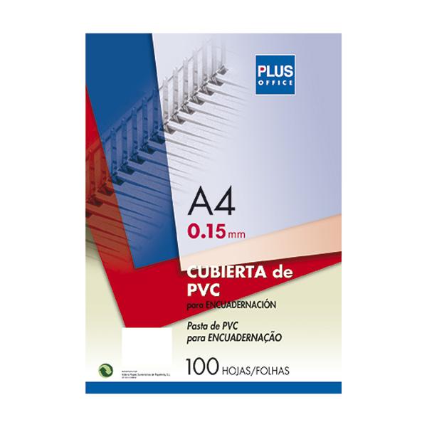 Tapas encuadernar Plus Office PVC A4 Cristal (100)