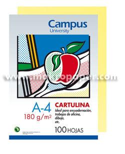 Cartulina Campus 180 gr A4 Amarillo canario(100u)