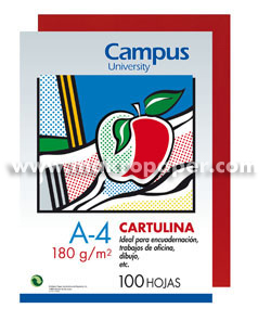 Cartulina Campus University  180gr A4 Roja (100u)