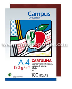 Cartulina Campus University 180gr A4 Granate (100u)
