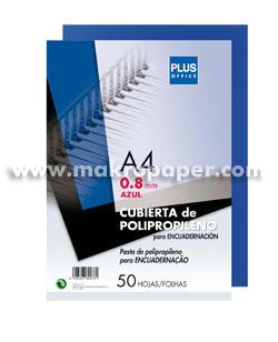 Tapas encuadernar Plus PP 800mic azul (50u)