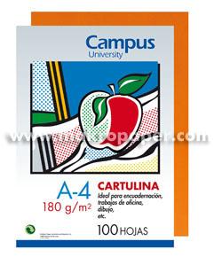 Cartulina Campus 180gr A4 Naranja (100u)