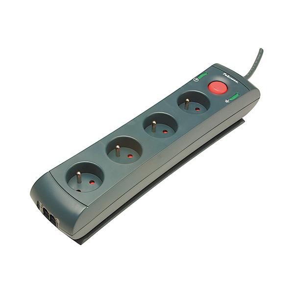 Regleta Fellowes de 4 tomas con protección de la linea telefónica