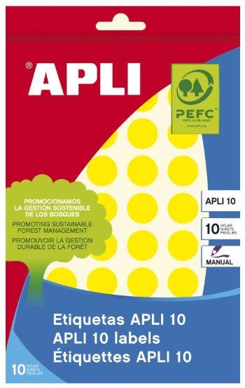 Etiquetas Apli 16mm 8 hojas amarillo