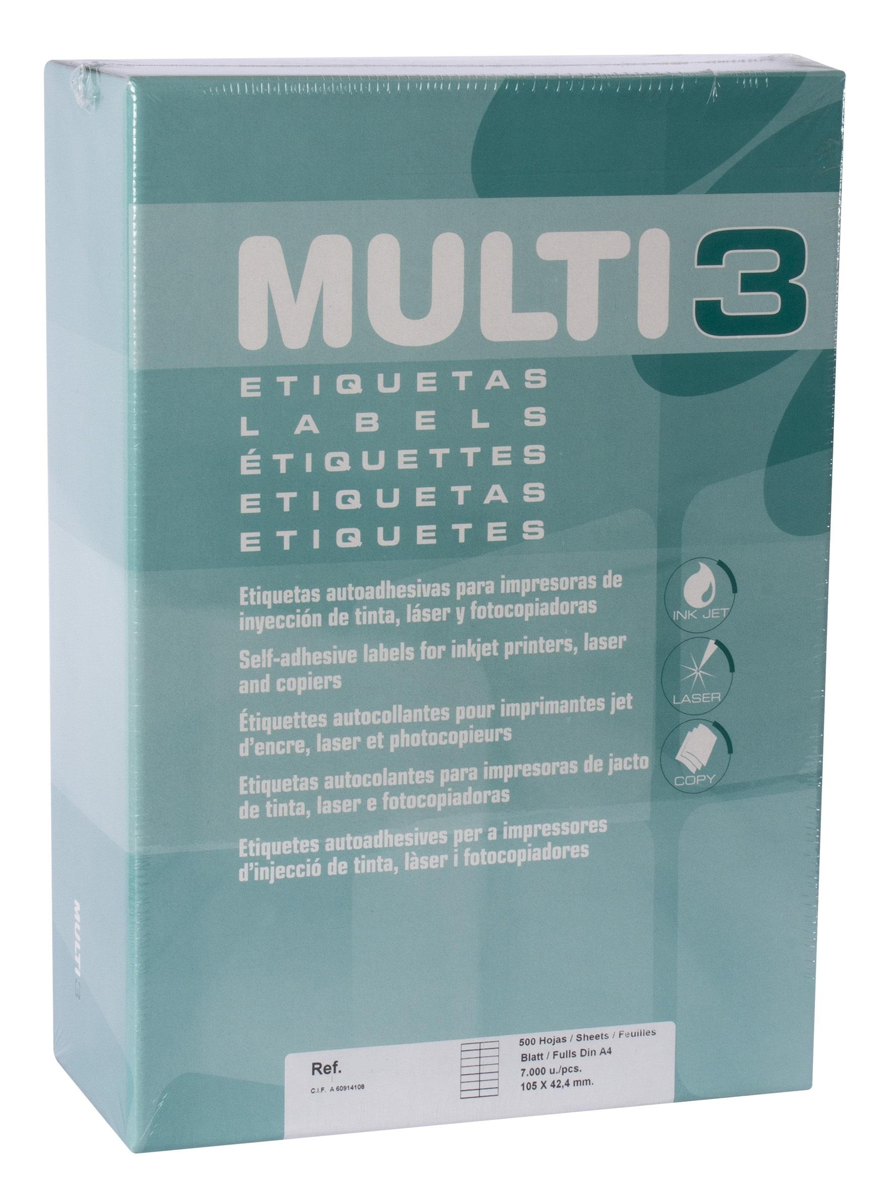 Caja etiquetas Multi3 500h 38X21.2