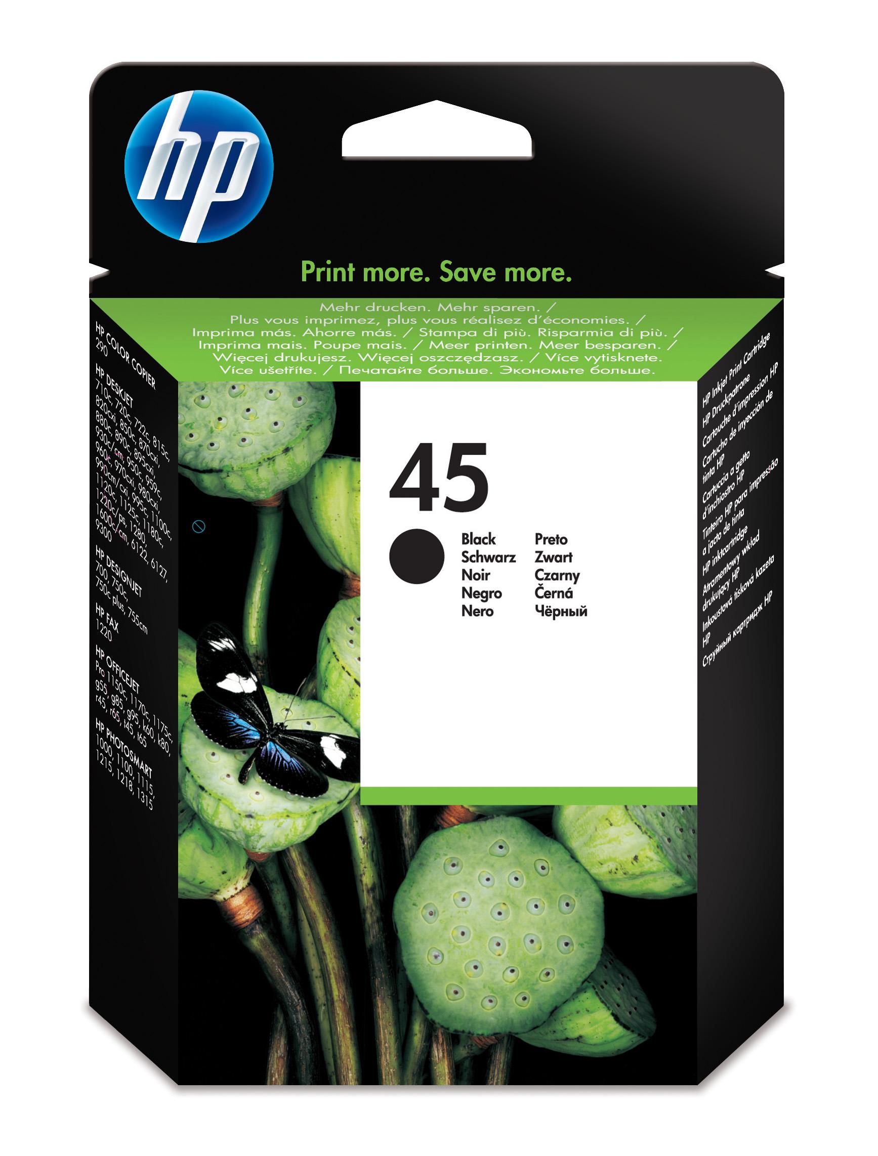 Cartucho inkjet HP 45 (51645AE) Negro