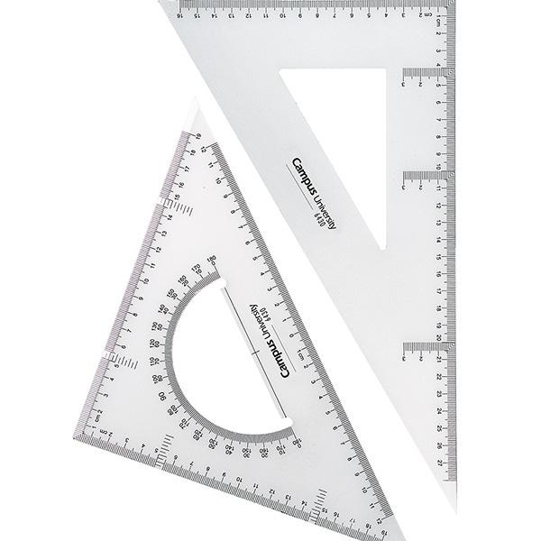 Set dibujo Campus escuadra, cartabón y semicírculo integrado 30cm.