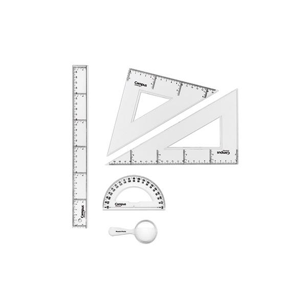 Set dibujo Campus: regla, cartabón, escuadra, semicírculo y lupa de aumento